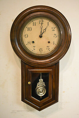 Antique 8 Day C.m.a Time & Strike Wall Clock Cleaned & Running 17A