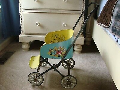 Rare 1940's Muskin Mfg. Vintage Babydoll Toy Metal/tin Stroller Play/pretend