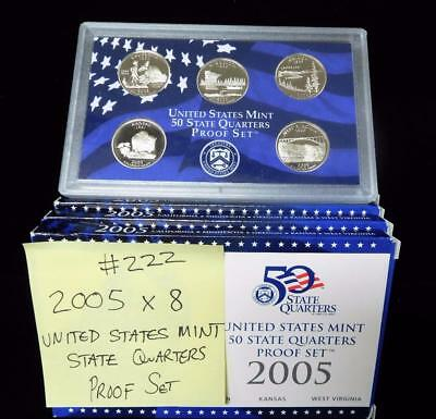 Picker's Delight Box #222 EIGHT 2005 US Mint State Quarters Proof Sets