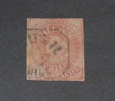 Stamp Pickers Chile 1854 Classic Imperf Christopher Columbus 5c CDS Sc #3 $80+