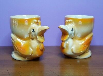 Pair of vintage egg cups ceramic lustreware roosters / chickens circa 1950s