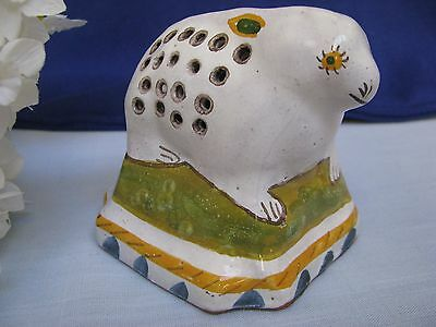 Hand Painted Pottery Rabbit Pomander Sugar Shaker Signed 17th C Copy Portugal