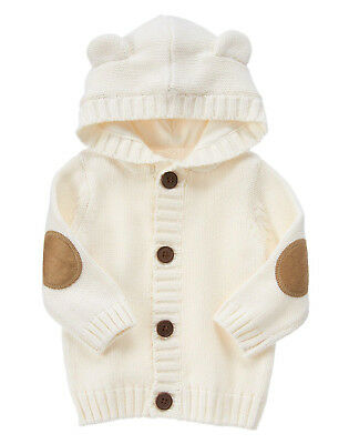NWT Gymboree Mouse and Moose Bear Cardigan Hoodie Sweater Baby Boy