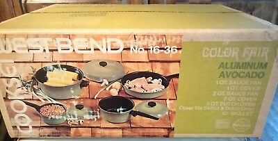 Vtg West Bend SEALED BOX COOKSET AVOCADO POTS & PANS Set Porcelain on Aluminum