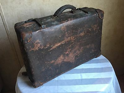 Antique Luggage Suitcase Distressed Worn Display Prop Restaurant Home Decor