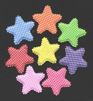 24 check fabric STARS 50mm FS5 Scrapbooking Sewing Card Hair Clip Embellishments