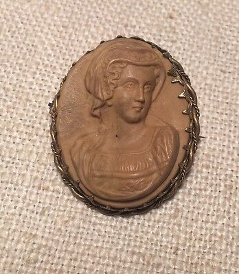 Antique Victorian Lava Cameo & Brass Bezel Pin