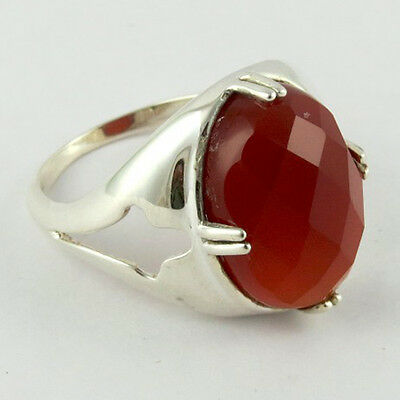 Prong Set Natural Carnelian Gemstone Faceted Ring With 925 Sterling Silver