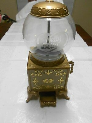 "RARE Jelly Belly Bean Dispenser, Gold, Glass Globe, 9"" 2007 - Great for Desktop"