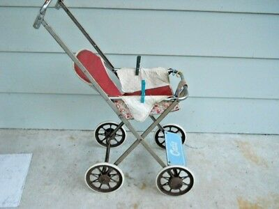 ANTIQUE CUTIE Baby Doll Stroller Vintage RED White Plastic Metal RARE