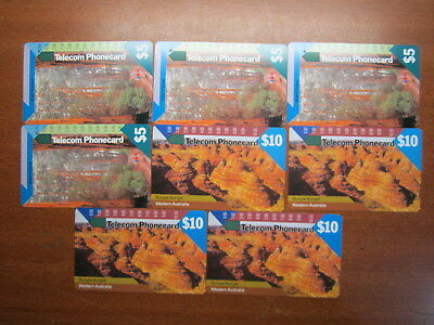 Phonecards bulk lot $5.00 $10.00 Telecom Western Australia Cards One Hole pc51