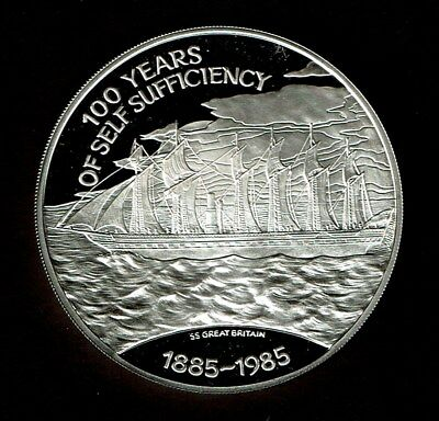 Falkland Islands 25 Pounds Huge Silver Proof 4.5 Ozs 1985 Ship Ss Great Britain