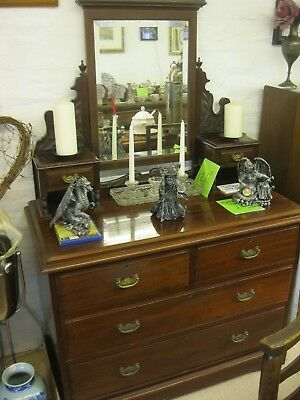 Quality Antique Victorian Ornate Dressing Table & Matching Swing Mirror.delivery
