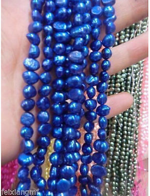 """5-6mm blue cultured freshwater pearl loose beads 15"""""""