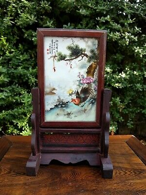 Chinese porcelain table screen with wooden frame and stand