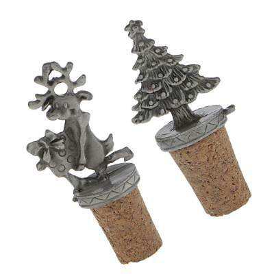 2pcs/Set Christmas Wine Bottle Stopper Xmas Tree Reindeer Christmas Gifts