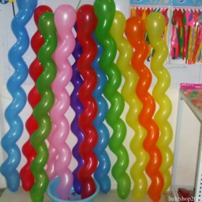 100pcs Wedding Birthday Party Decor Toy Gift Twist Spiral Latex Balloons DWV8