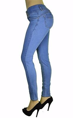 High Waist Stretch Push-Up Colombian Style Skinny Jeans in Lt.blue  N3502