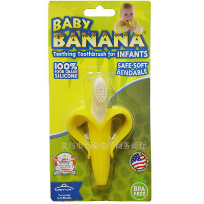Baby Kid Child Toddler Banana Teething Chewable Soft Bendy Teether Toothbrush 0+