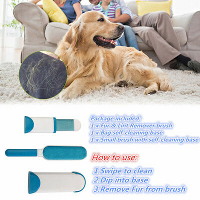 Dust Remove Brusher Static Hair Remover Lint Fur Pet Hair Cleaner Brand-New M@