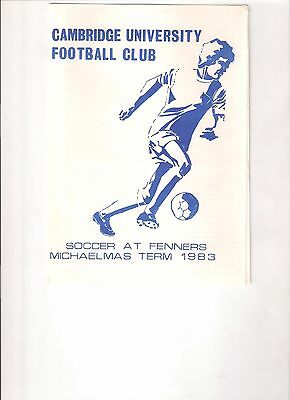 Cambridge University v Ipswich Town reserves youth 1983 programme, Non-League