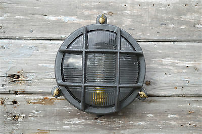 Heavy cast iron round boiler room bulkhead wall light lamp industrial gangway B