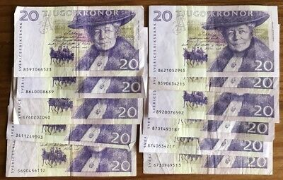 SWEDEN 20 Kronor x 11 Banknotes