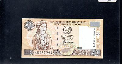 CYPRUS £1 One Pound Banknote  1.2.2001
