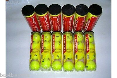 NEW!! FACTORY SECONDS 48 Diadora Multi Court Tennis Balls in cans of 4