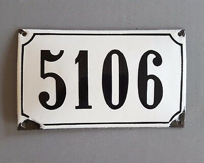 ANTIQUE FRENCH STEEL ENAMEL HOUSE NUMBER SIGN 5106 Gate garage front door plaque