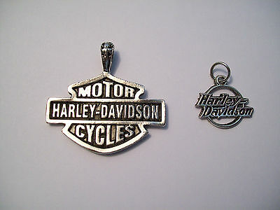 2 Harley Davidson Motorcycle Pendants Charms Silver tone FREE SHIPPING IN USA