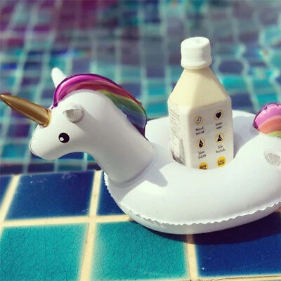 Unicorn Swimming Inflatable Floating Boat Drink Can Cup Holder Bath Beach Toy KP