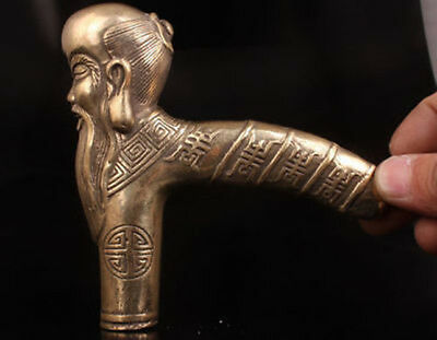 Good Luck Statue Statue Cane Walking Stick Head Handle Brass Longevity Old Man