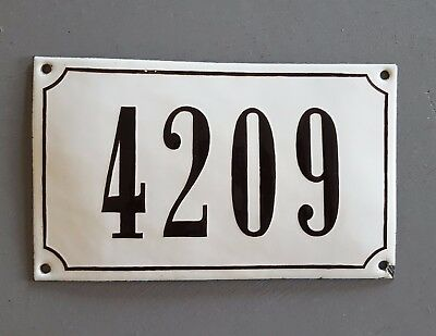 ANTIQUE FRENCH STEEL ENAMEL HOUSE NUMBER SIGN 4209 Gate garage front door plaque