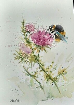 original WATERCOLOR PAINTING - bumble bee on flowers cm 21x29,5 - a4