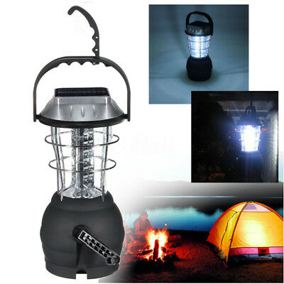 Rechargeable Outdoor Solar 36 LED Hand Crank Dynamo Camping Lantern Light Lamp