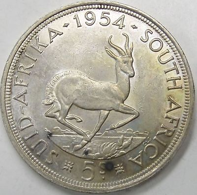 1954 South Africa 5 Shillings -Key date low mintage of 10000 only
