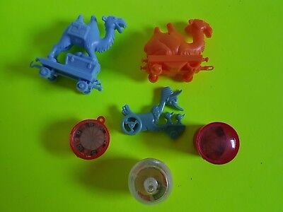 Vintage Lot of Cracker Jack Bubble Gum Machine Small Toys Wheeled Animals Games