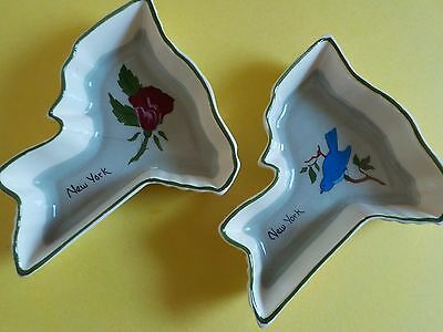 Vintage New York State Shaped Small Dishes Anne Laura Pottery Bird Flower