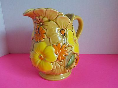 Vintage Relpo Japan Jug Pitcher 6422 Floral Retro Gold Yellow Orange 6 Inch Tall