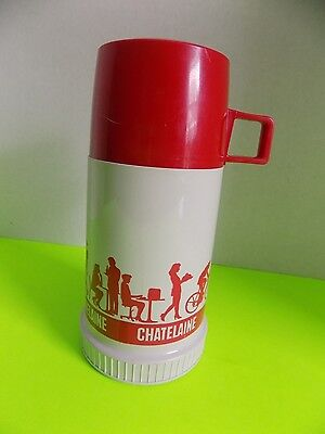 Vintage Chatelaine Magazine Thermos Red and White Made in Canada Plastic