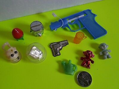 Vintage Lot of Cracker Jack Bubble Gum Machine Small Toys Trolls Gun Whistle Etc