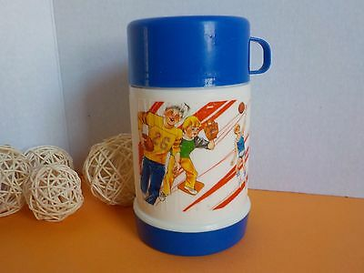 Vintage Thermos Thermal Bottle Plastic Childrens Sport Scene Made in Taiwan