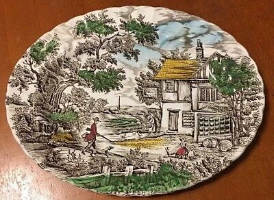 Vintage Myott THE HUNTER Platter Hand Engraved Permanent Colours Made In England