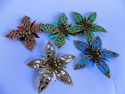 Vintage Christmas Decor Pointsettas for Gifts Tree or Decoration Foil Flowers