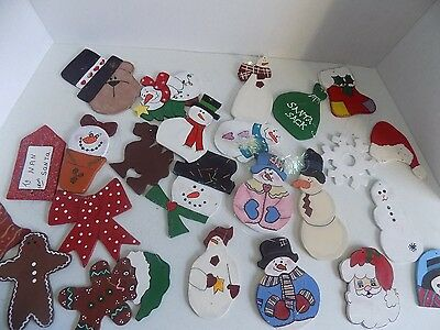 Vtg Christmas Decoration Lot Hand Painted Made Ornaments Wooden