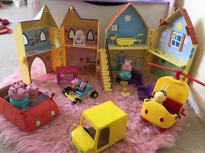 PEPPA PIG Bundle - House, Castle, Cars, Helicopter & Figures