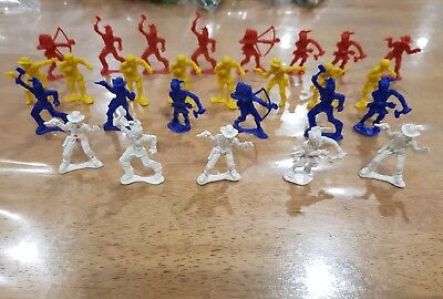 HONG KONG vintage plastic cowboy and indians red blue white yellow