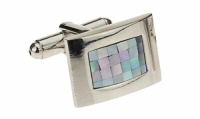 Mother Of Pearl Mosaic Mens Cufflinks Stainless Steel Gift Box Quality Cuff Link