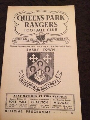 Queens Park Rangers V Barry Town 06/11/1961 F.A Cup 1st Round Replay *Rare*